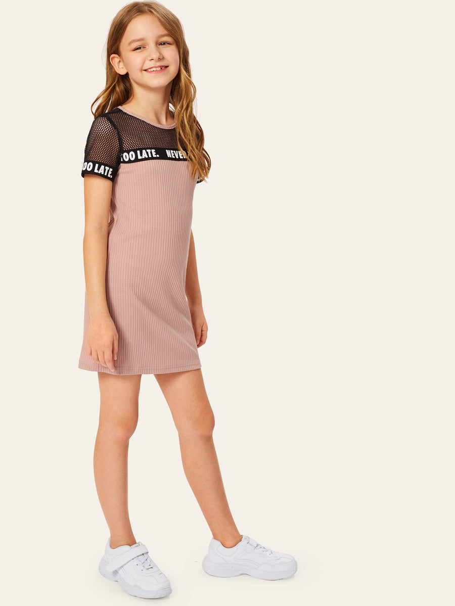 Girls Keyhole Back Fishnet Yoke Letter Tape Rib-knit Dress - QAS KIDS TORE