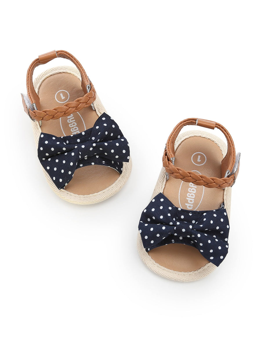 Baby Polka Dot Bow Tie Sandals - QAS KIDS TORE
