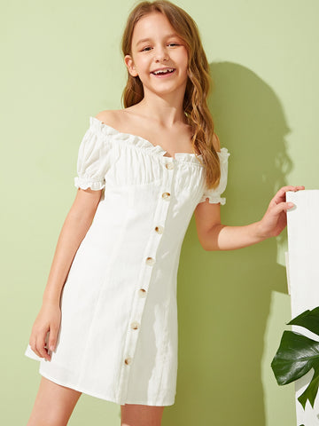 Girls Off Shoulder Frilled Button Front Pleated Dress - QAS KIDS TORE