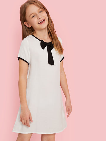 Girls Zip Back Bow Front Ringer Dress - QAS KID  STORE