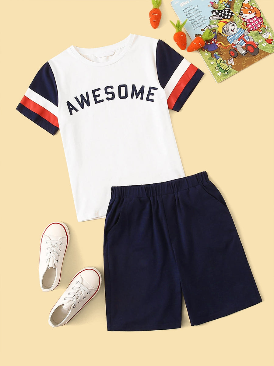 Boys Color-block Letter Print Tee & Shorts Set - QAS KIDS TORE