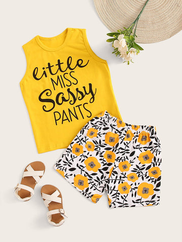 Toddler Girls Letter Print Tank Top & Shorts - QAS KIDS TORE