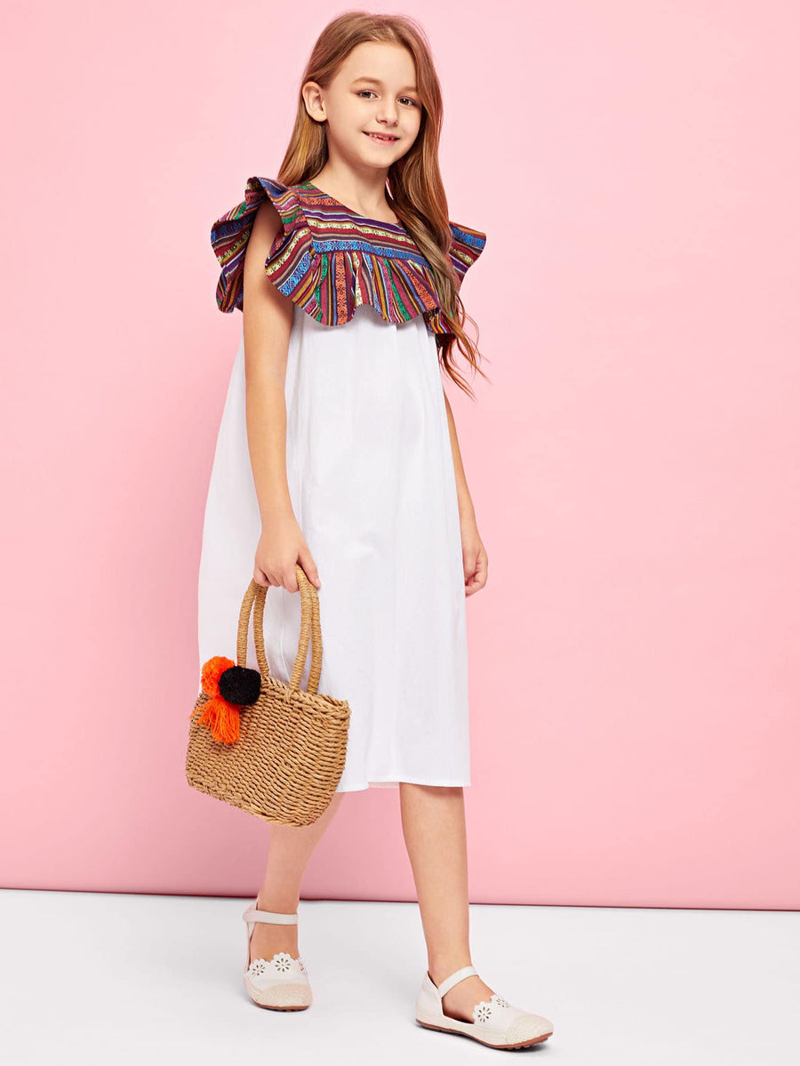 Girls Keyhole Back Contrast Dress - QAS KIDS TORE