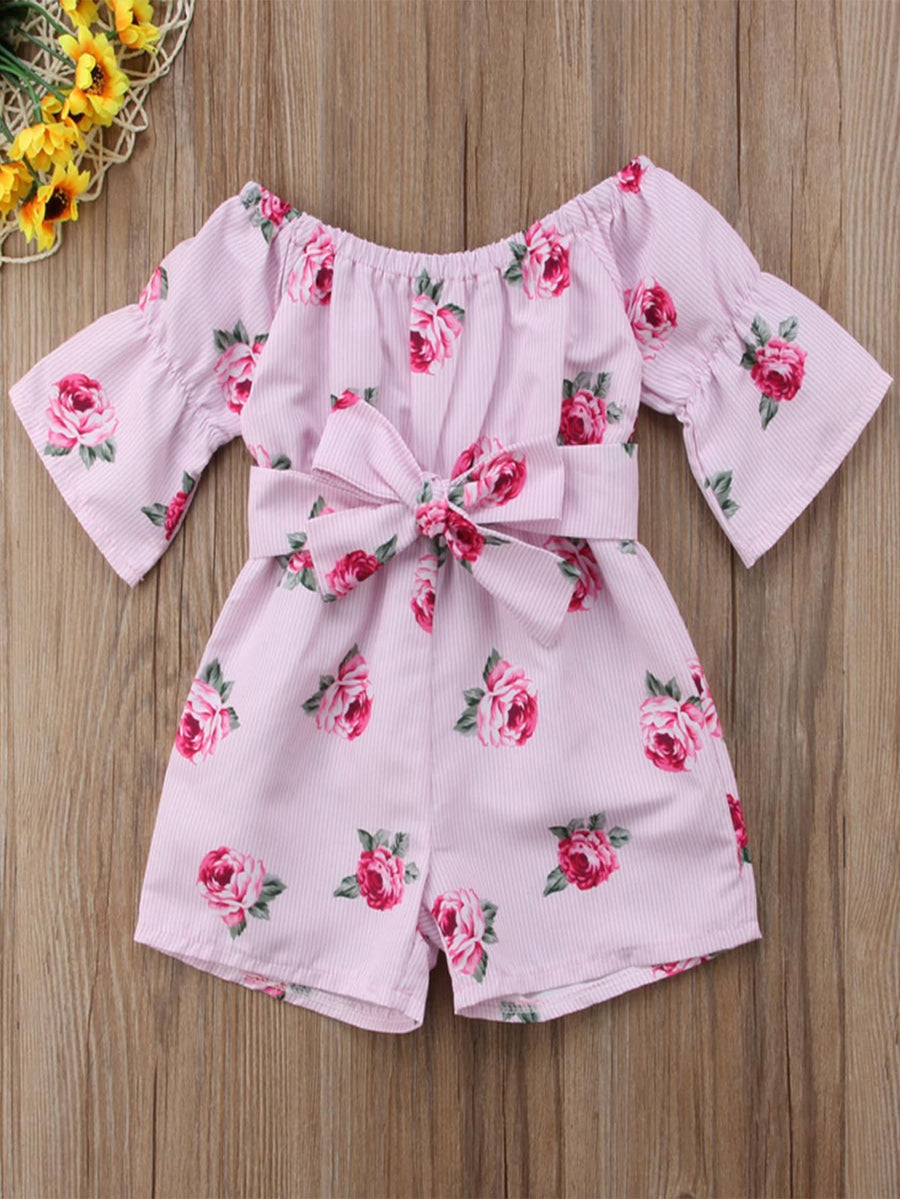 Toddler Girls Floral Print Belted Romper - QAS KID  STORE