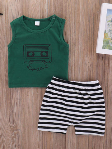 Baby Tape Print Tank Top With Striped Shorts - QAS KIDS TORE