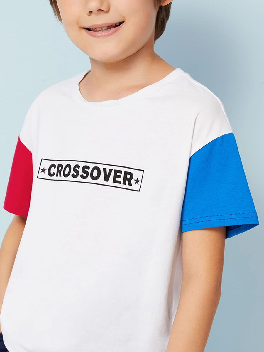 Boys Letter Print Color Block Tee - QAS KIDS TORE