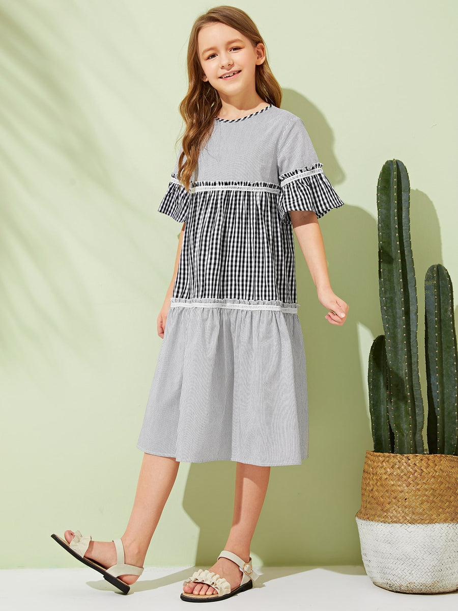 Girls 2 In 1 Frill Trim Gingham & Striped Print Dress - QAS KIDS TORE