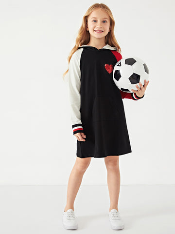Toddler Girls Contrast Sequin Hoodie Dress - QAS KIDS TORE