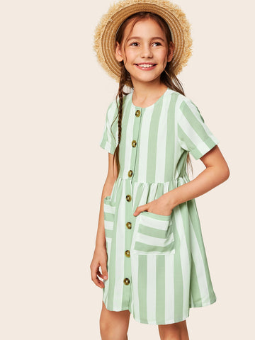 Girls Button Up Pocket Front Striped Dress - QAS KIDS TORE