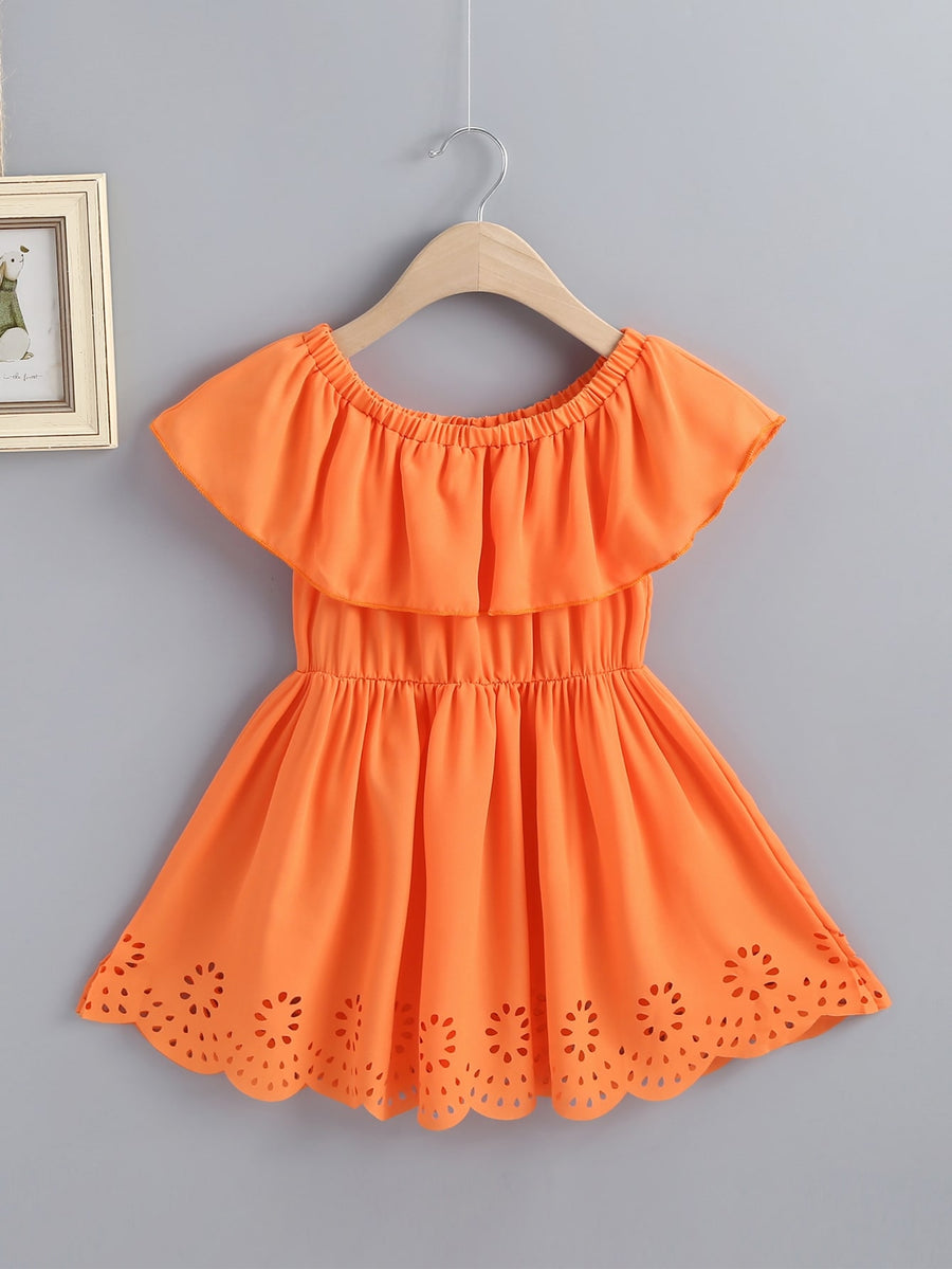 Toddler Girls Laser Cut Out Neon Orange A-line Dress - QAS KIDS TORE