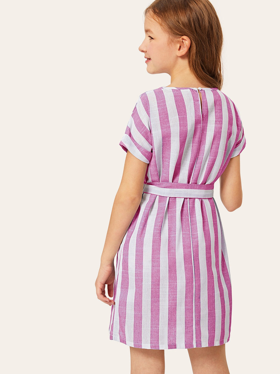 Girls Waist Belted Stripe Roll Sleeve Dress - QAS KIDS TORE