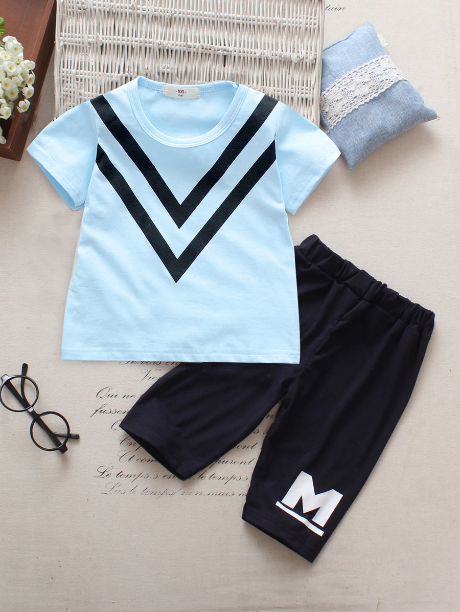 Toddler Boys Chevron & Letter Print Tee With Pants - QAS KIDS TORE
