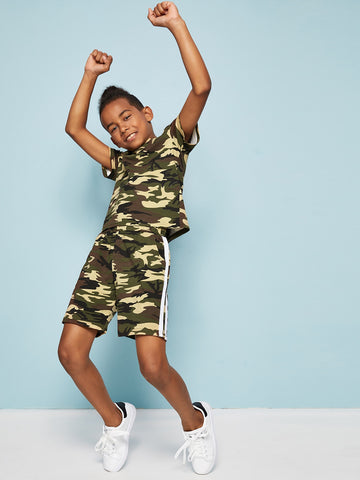 Boys Striped Tape Camo Print Tee and Shorts Set - QAS KID  STORE