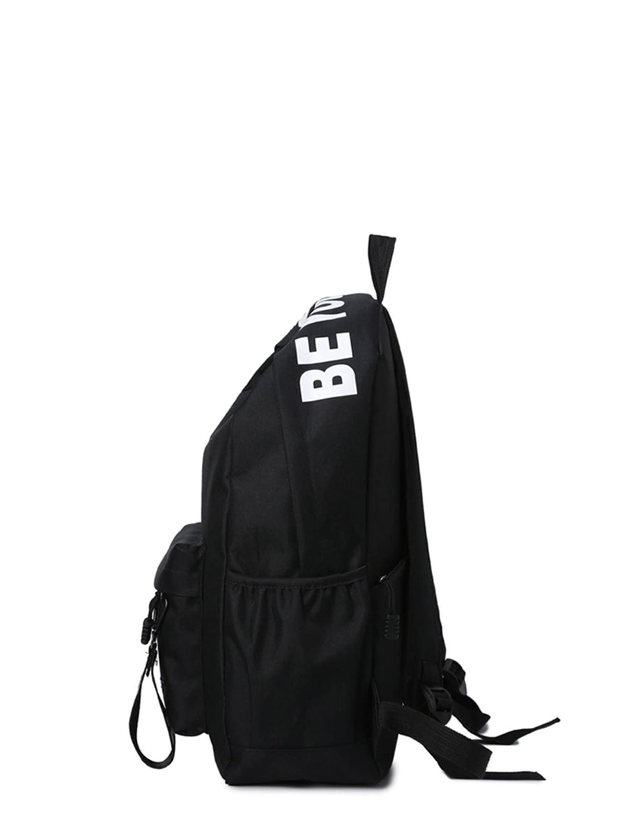 Kids Slogan Detail Nylon Backpack - QAS KID  STORE