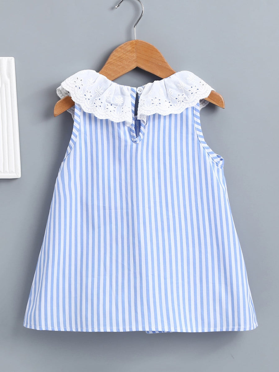 Baby Contrast Eyelet Embroidery Stripe Dress - QAS KIDS TORE