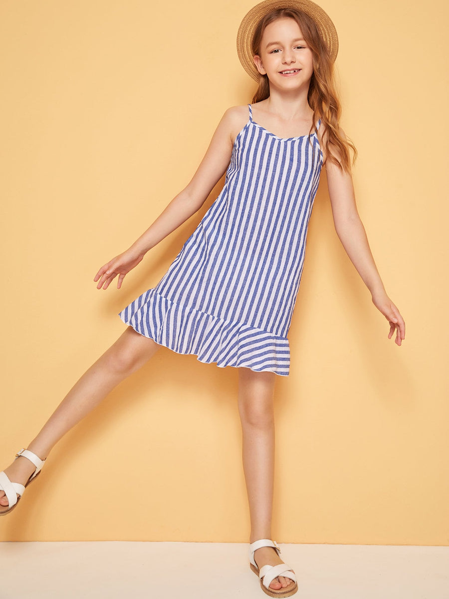 Girls Striped Flounce Hem Cami Dress - QAS KIDS TORE