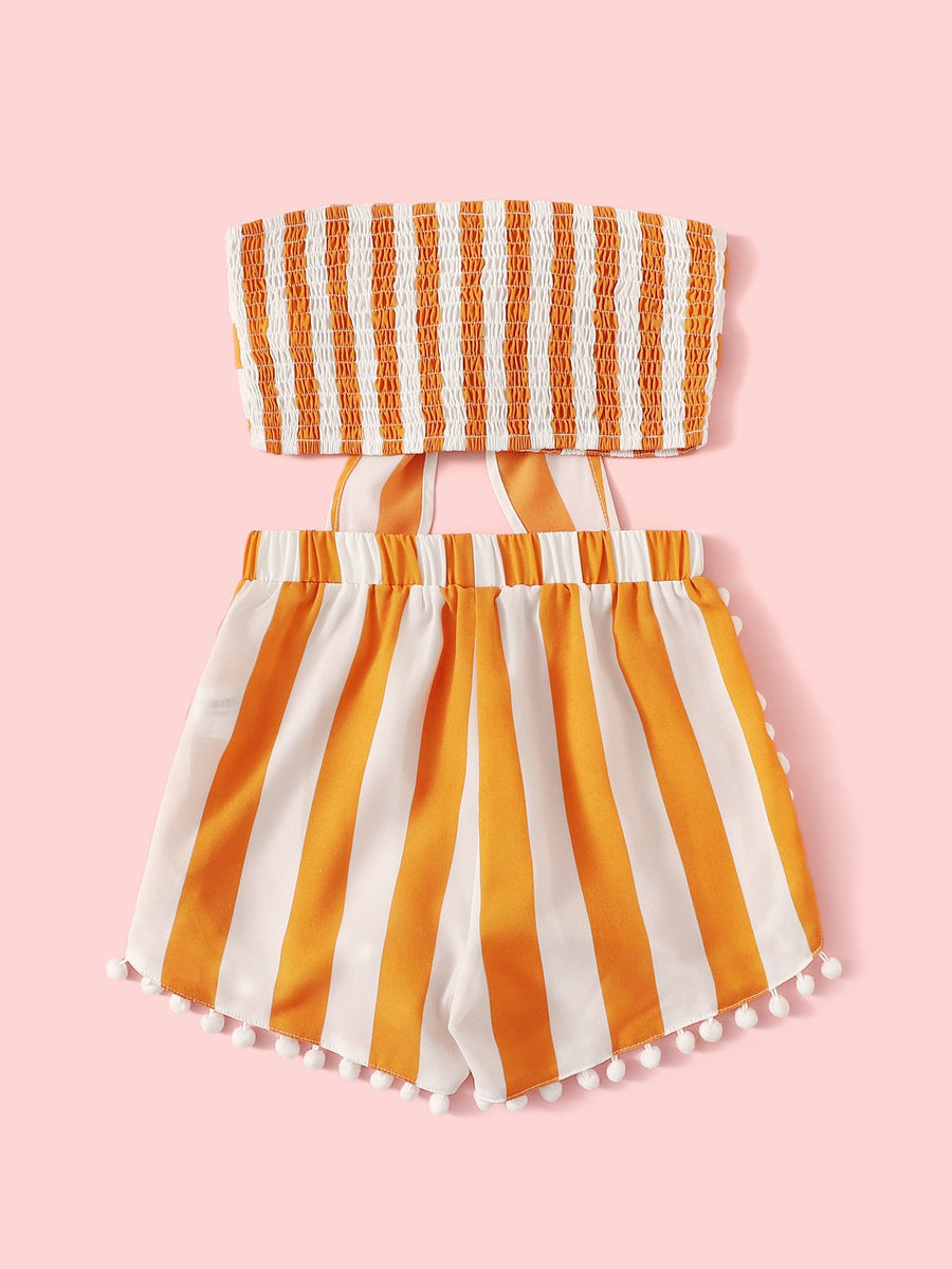 Girls Knot Shirred Bandeau and Pompom Shorts Set - QAS KIDS TORE