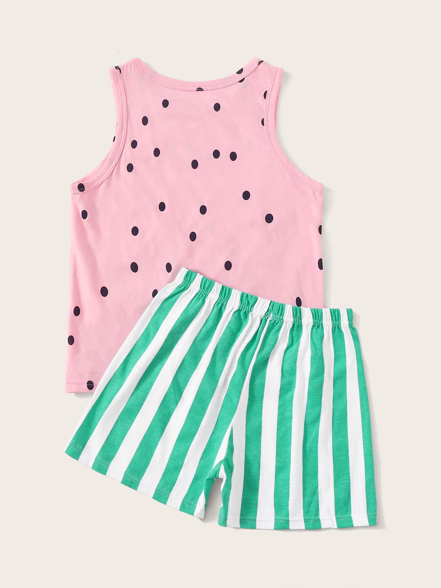 Toddler Girls Polka Dot Striped Pajama Set - QAS KIDS TORE