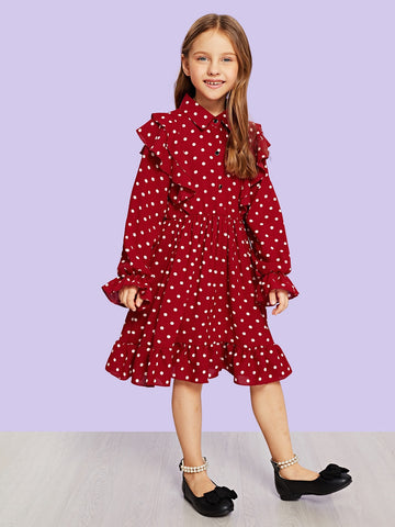 Toddler Girls Ruffle Trim Polka Dot Print Dress - QAS KIDS TORE