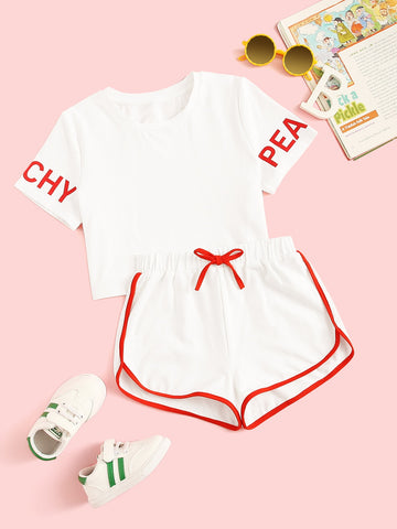 Girls Letter Tee and Contrast Binding Dolphin Shorts Set - QAS KIDS TORE