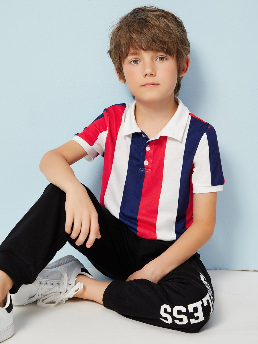 Boys Colorblock Striped Polo Shirt - QAS KIDS TORE