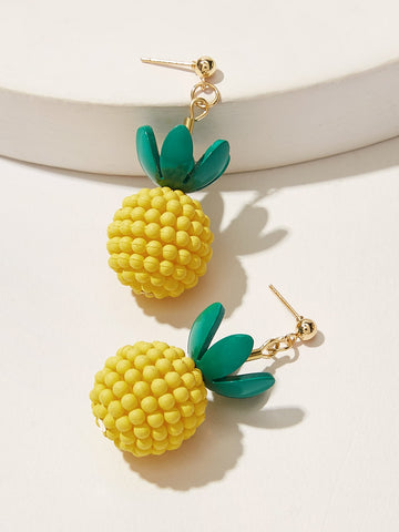 Girls Pineapple Drop Earrings 1pair - QAS KID  STORE