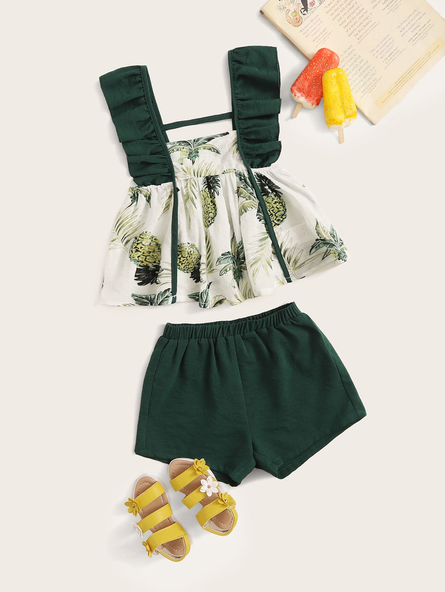 Toddler Girls Tropical Print Ruffle Strap Top & Shorts Set - QAS KIDS TORE