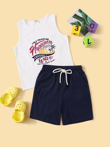 Boys Graphic Print Tank Top & Shorts Set - QAS KIDS TORE