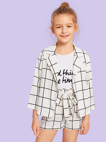 Girls Belted Grid Top & Shorts Set - QAS KIDS TORE