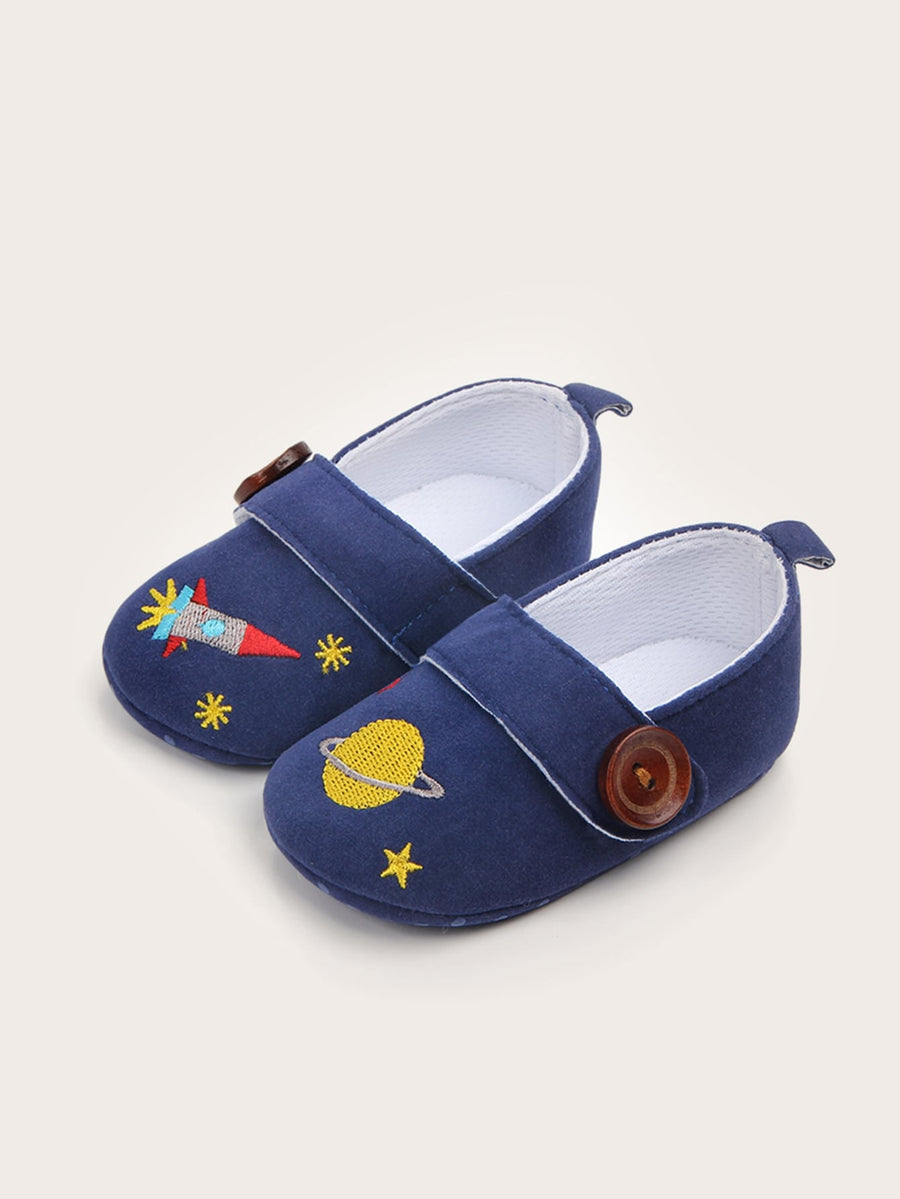 Baby Boys Planet Embroidered Flats - QAS KIDS TORE
