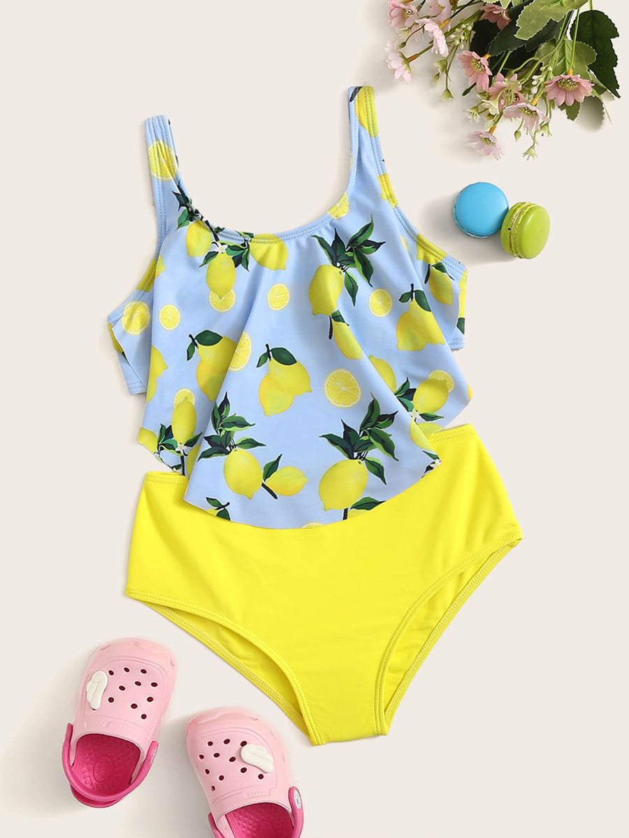 Girls Random Lemon Print Hanky Hem Bikini Set - QAS KIDS TORE