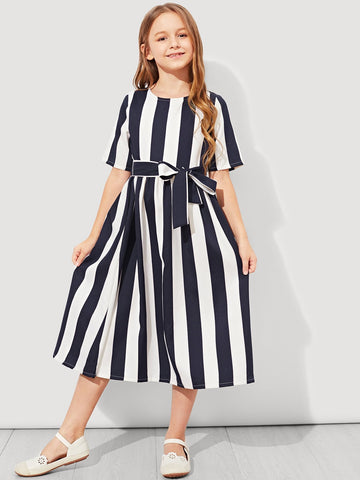 Girls Tie Waist Striped Dress - QAS KID  STORE
