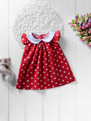 Toddler Girls Polk Dot Dress - QAS KIDS TORE