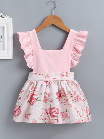 Baby Floral Print Ruffle Dress - QAS KIDS TORE