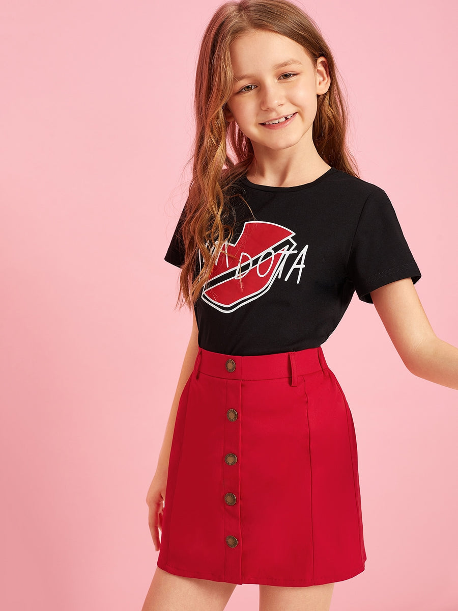 Girls Mixed Print Tee and Button Up Skirt Set - QAS KIDS TORE