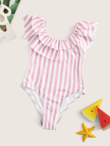 Toddler Girls Striped Tiered Layer One Piece Swimwear - QAS KIDS TORE