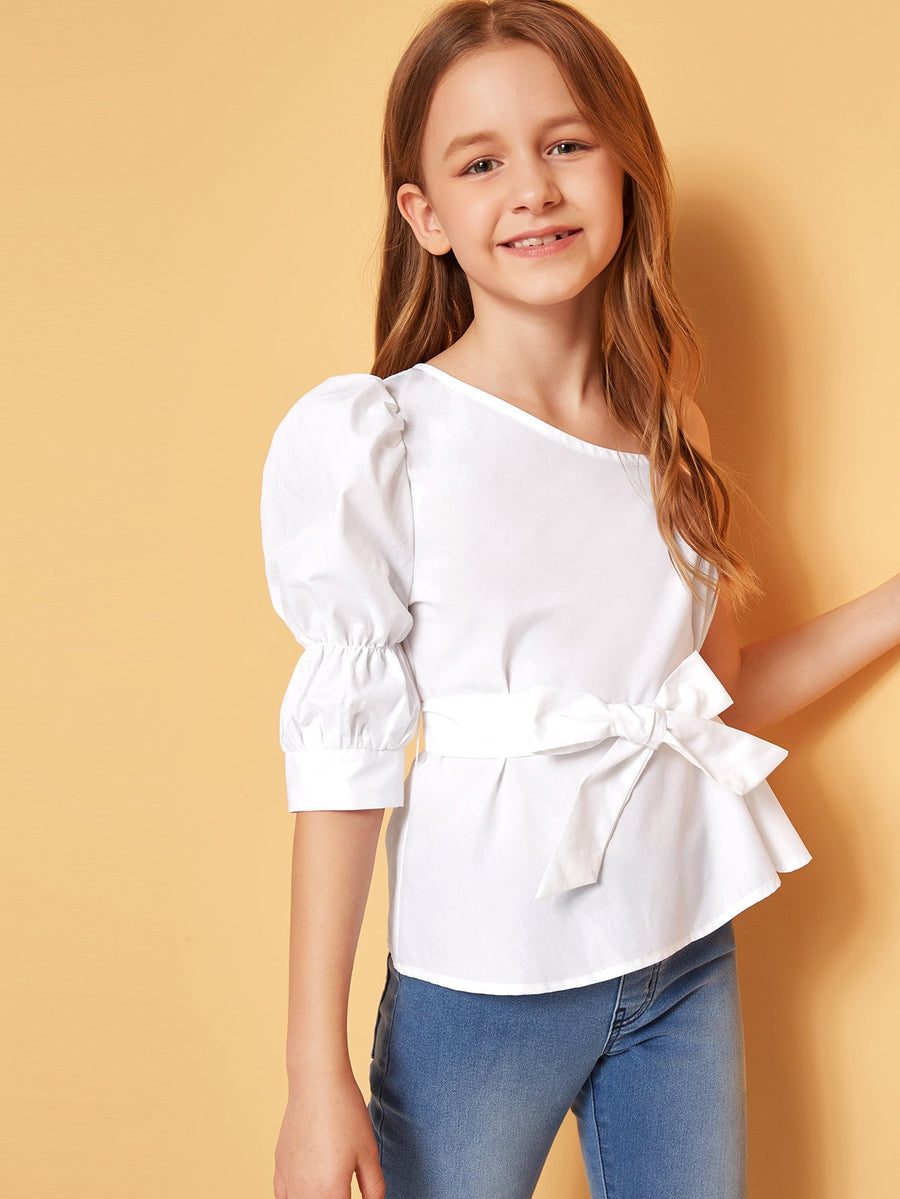 Girls Asymmetrical Neck Puff Sleeve Belted Top - QAS KIDS TORE
