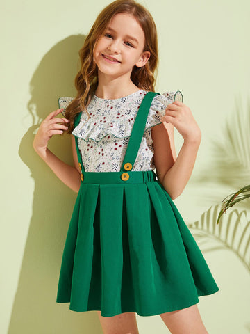 Girls Ruffle Ditsy Floral Top & Pleated Pinafore Skirt Set - QAS KIDS TORE