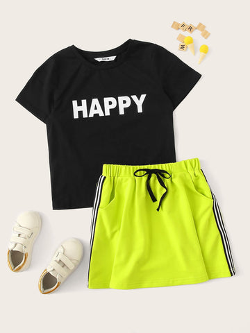 Girls Letter Tee & Neon Green Side Striped Skirt Set - QAS KID  STORE