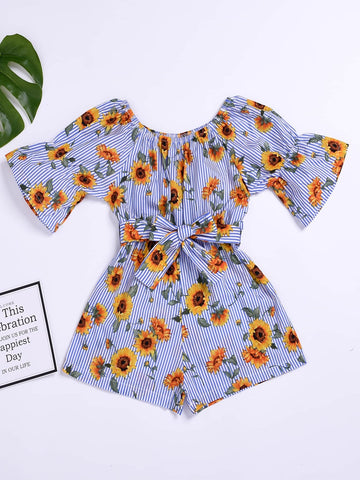 Toddler Girls Stripe & Sunflower Print Belted Playsuit - QAS KIDS TORE