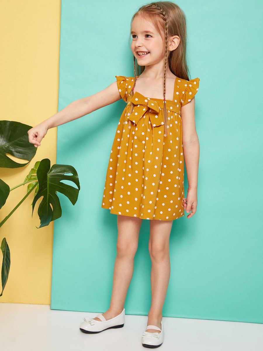 Toddler Girls Polka-dot Bow Front Ruffle Trim Dress - QAS KIDS TORE