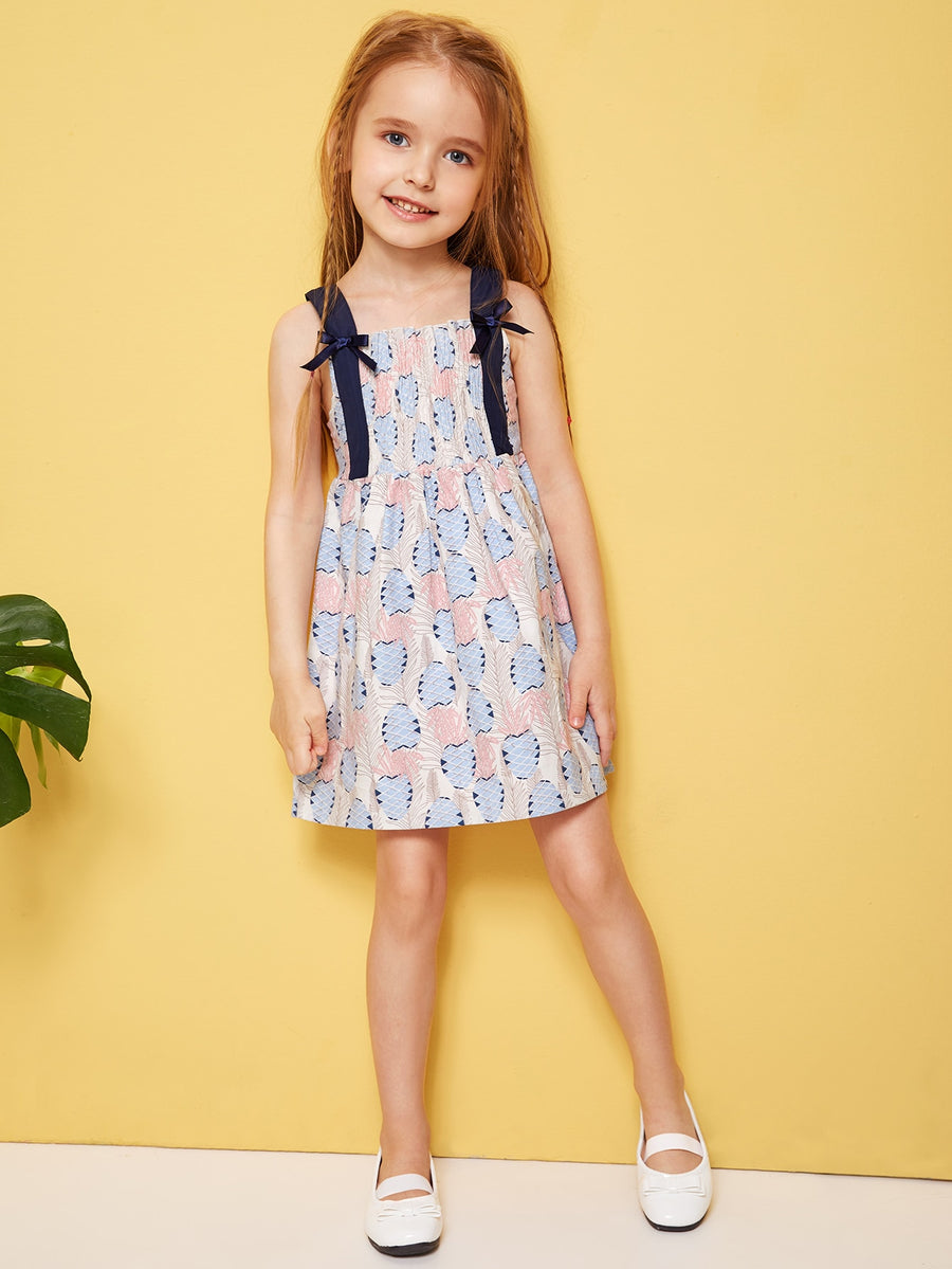 Toddler Girls Pineapple Print Shirred Cami Dress - QAS KIDS TORE