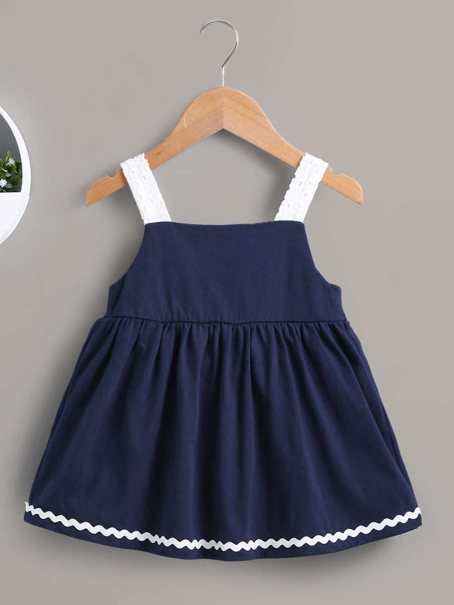 Baby Contrast Straps Eyelet Embroidery Smock Dress - QAS KIDS TORE