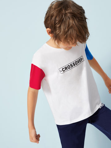 Boys Letter Print Color Block Tee - QAS KID  STORE