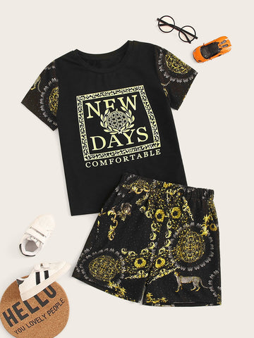 Boys Letter and Scarf Print Tee & Shorts Set - QAS KID  STORE