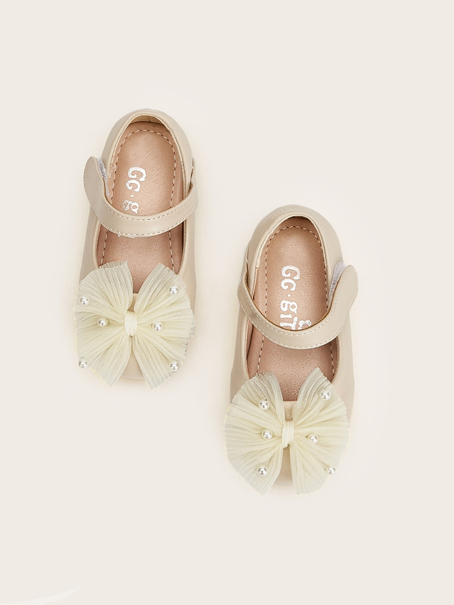 Baby Pearl & Bow Tie Decor Flats - QAS KIDS TORE