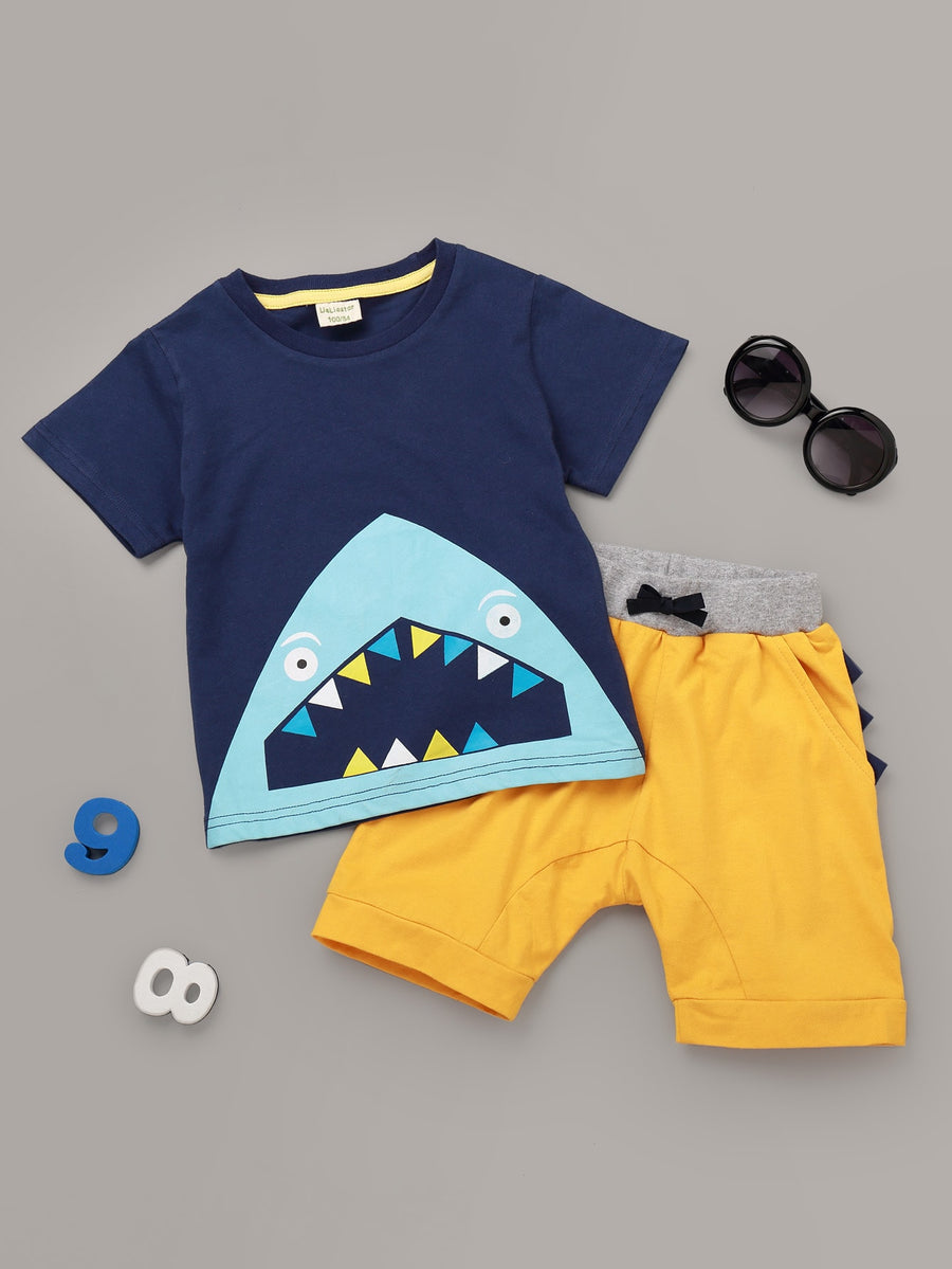 Toddler Boys Shark Print Tee With Shorts - QAS KIDS TORE