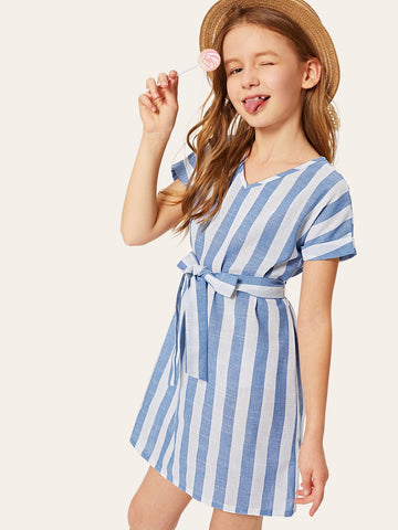Girls Waist Belted Stripe Roll Sleeve Dress - QAS KID  STORE