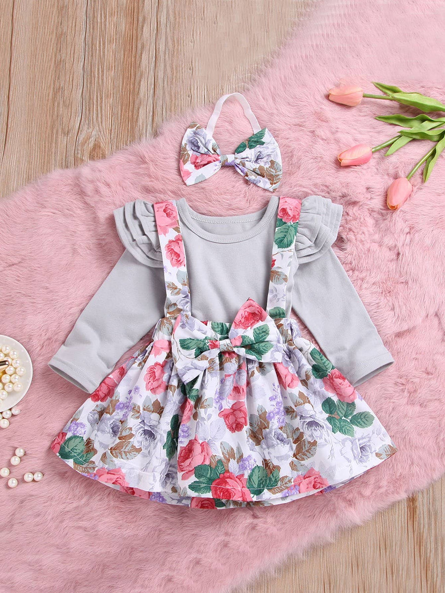 Baby Ruffle Trim Top & Floral Print Pinafore Skirt & Headband - QAS KIDS TORE