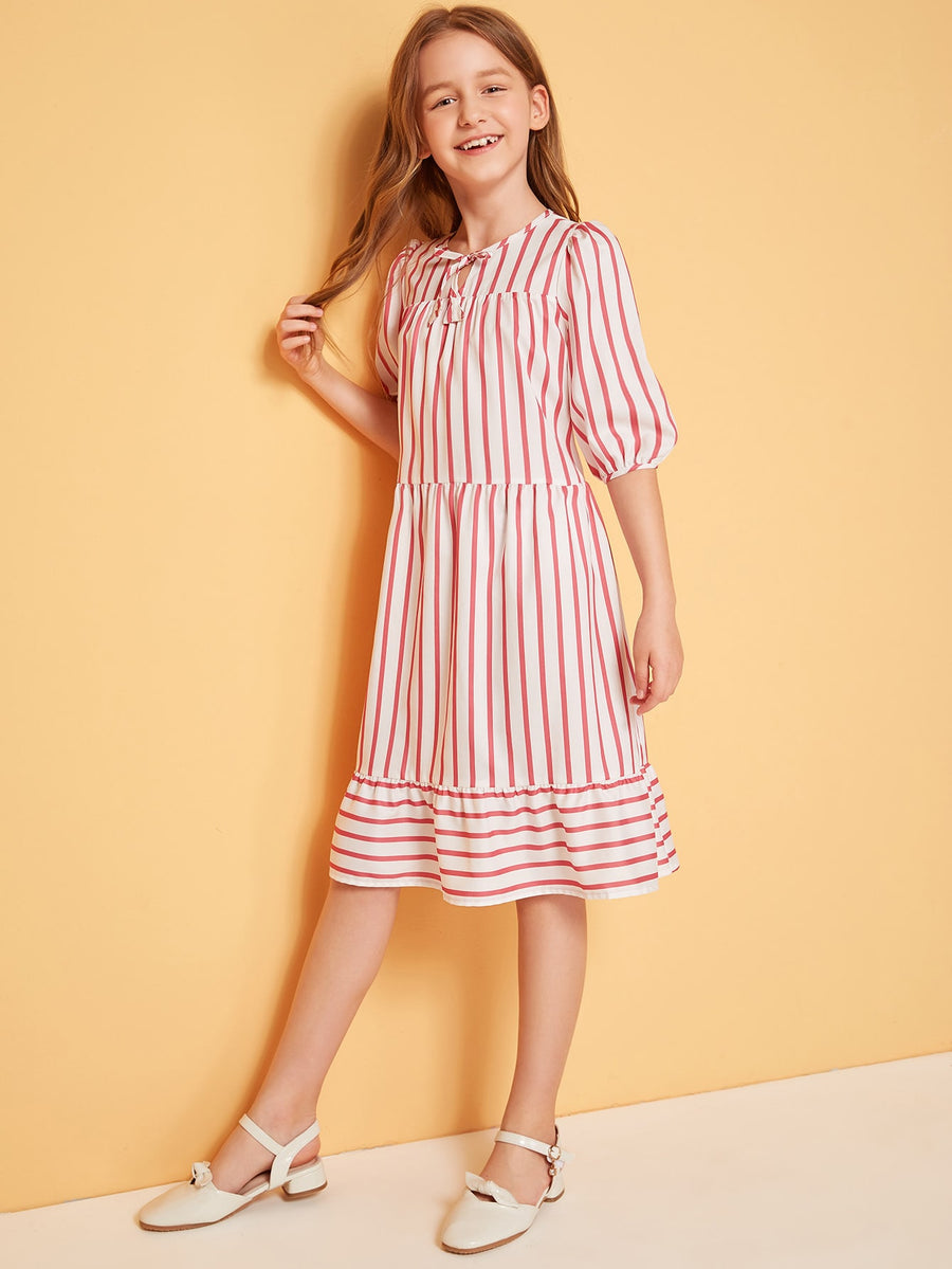 Girls Tie Neck Flounce Hem Striped Dress - QAS KIDS TORE